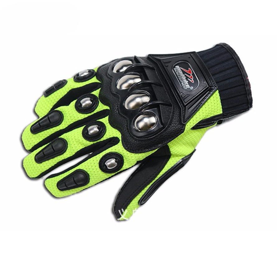 Alloy Steel Motorcycle Gloves Racing Cycling Gloves Motorbike  Protective Green