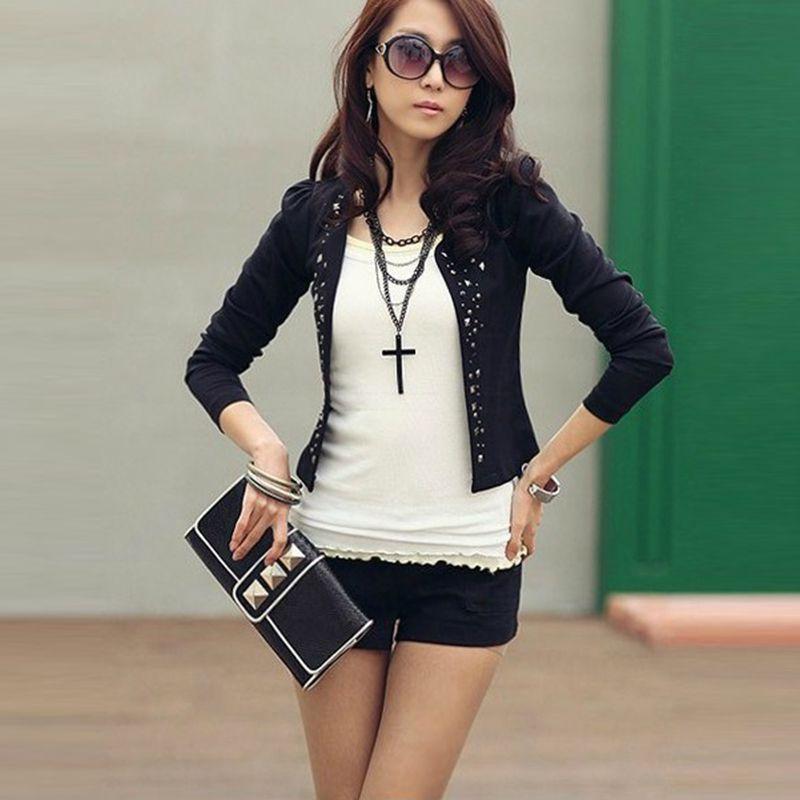 Moda Otoño Primavera Perforación Outwear Corto Negro Rivet Ol Traje Rhinestone blanco Chaqueta Negro Abrigo Poco Blanco Mujeres d5xr0wxg