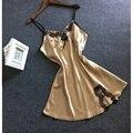 Uwback 2017 Лето Бренд Сексуальные Женщины Ночная Рубашка Спагетти Ремень Трусы Femme Кружева Искусственного Slik Атласная Слип Платье OB243