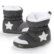 Boys Girls First Plush Walkers Warm Toddler Infant Sapatos Prewalker Star Print Winter Boots Soft Baby Shoes