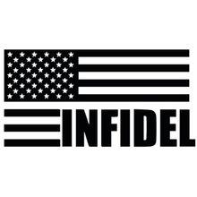 Autocollant en vinyle drapeau patriotique INFIDEL, étiquette de voiture, 20x10CM
