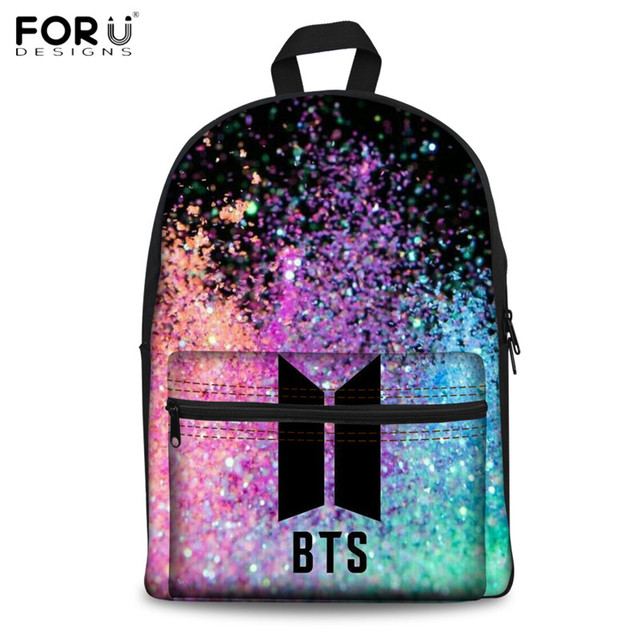FORUDESIGNS Canvas School Backpacks Fashion BTS School Bagpack for Teenagers Girls Casual Book Rucksack Students Laptop Backpack