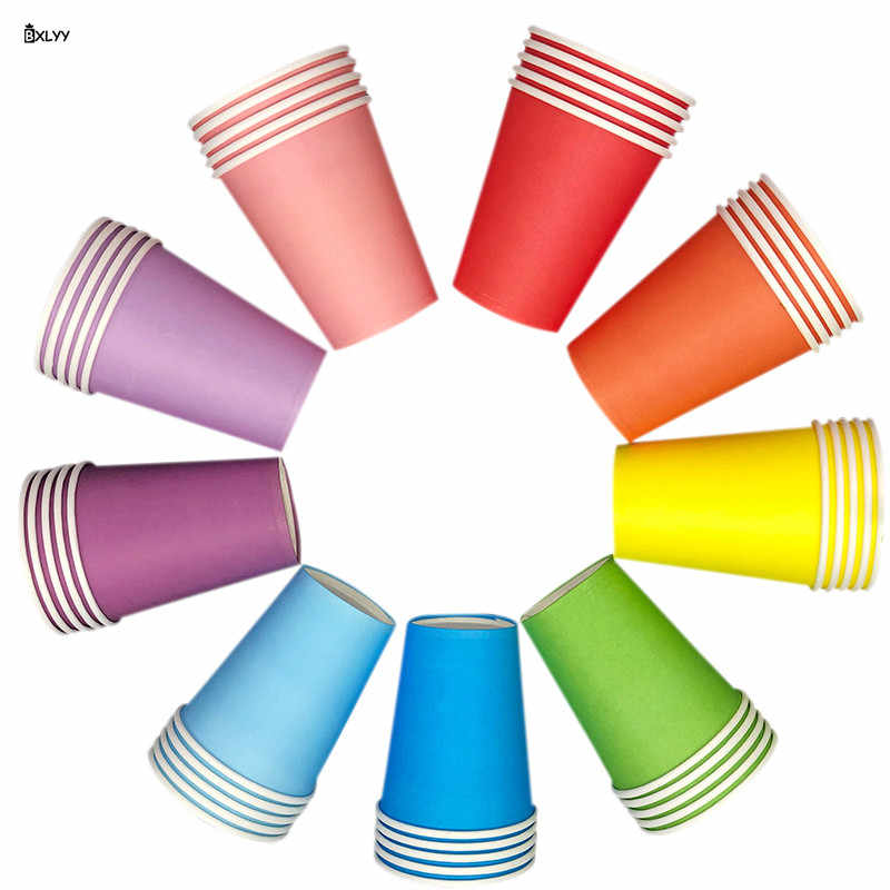 BXLYY 2019 Hot Disposable Party Paper Cup 11 Color Household Coffee Cup Kitchenware Home Decor Accessories Wedding Decoration.8z