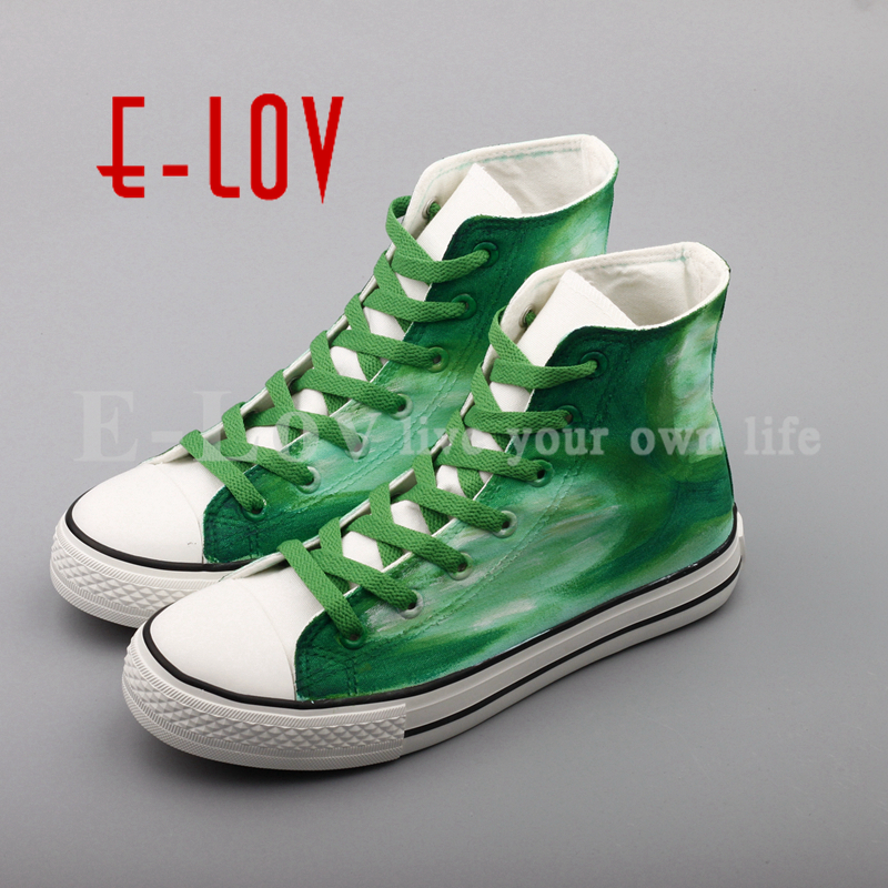E-LOV Fashion Brand Hand Drawing Canvas Shoes Casual Flat Shoes Women Zapatillas Mujer Casual Oxford Shoes gunsafe bs95 l43