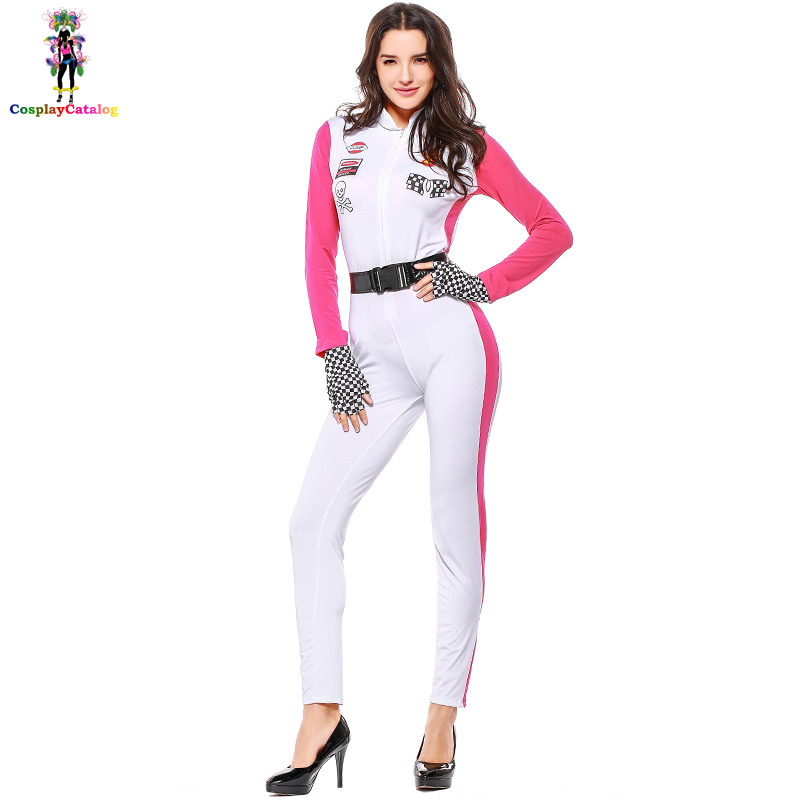 Women's Costumes Race Car Girl Rompers High Octane Honey Costume Rose/white Long Sleeve Cheerleading Uniforms Cheerleader Victory Lap Costume 100% Original