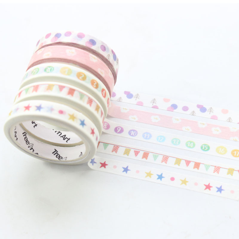 Domikee New Cute Kawaii Japanese School Student Cartoon Decoration Washi Tapes Set For Diary Planner Notebooks Stationery,4pcs