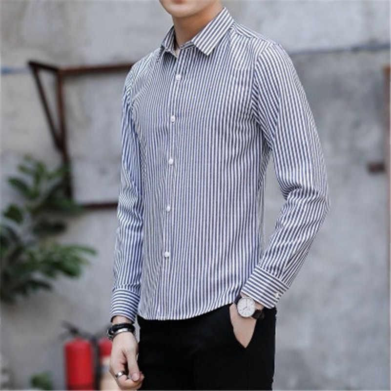 VISADA JAUNA 2018 春長袖シャツ男性ドレスでメンズカジュアルシャツプリントメンズファッションスリムフィットシャツビッグサイズ N8833
