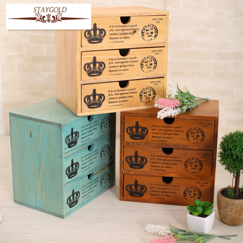 Staygold Zakka Multifunctional Mini Storage Cabinet Three Drawer Box Wood  Craft Storage Box Small Parts Vintage Home Decor In Home Office Storage  From Home ...
