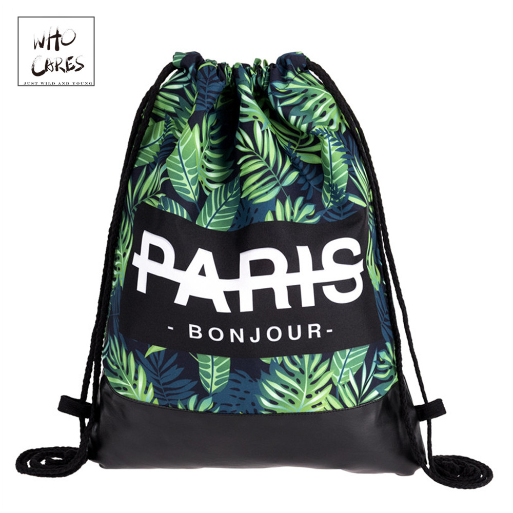 Paris Bonjour Eksotisk Leaf Nederst Rygsæk Unisex 2018 Brand Ny Sommer Rejse Mand Fritid Taske Mochilas Drawstring Bag