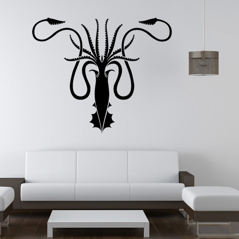 Free shipping diy wallpaper Game of Thrones wall sticker The Greyjoy family crest wall stickers home decor mural