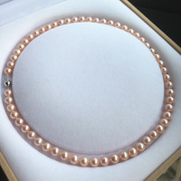 Women Gift word 925 Sterling real Taihu is the Natural Freshwater Pearl Necklace Pink Gold 7 8 mm round to basic Pink bts