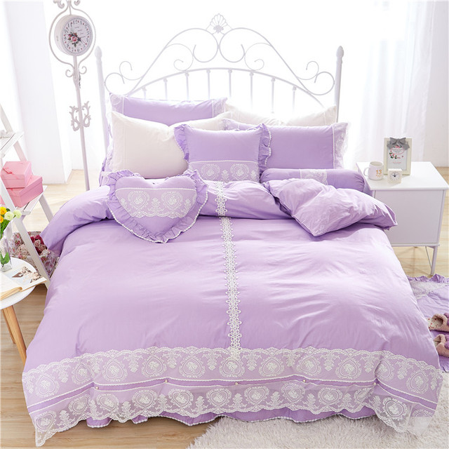 Korean Lace Princess Style Blue Pink Purple White Bedding Set Without Filler Twin Full Queen King