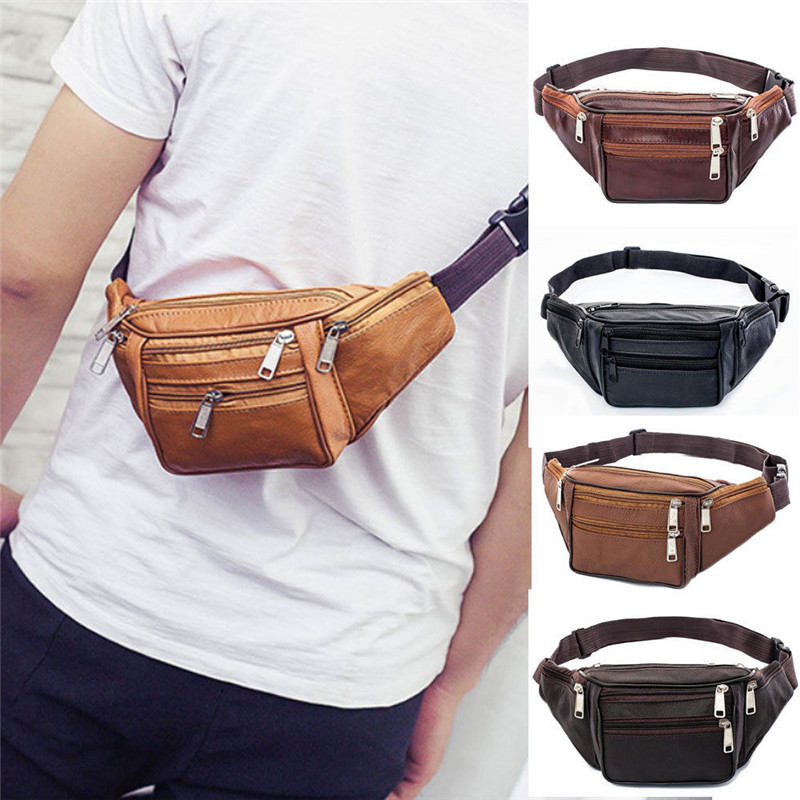 PU Leather Nylon Mens Waist Belt Pack Storage Bag Women Hip Pouch Sundries Travel Storage Bags Black Coffee Brown