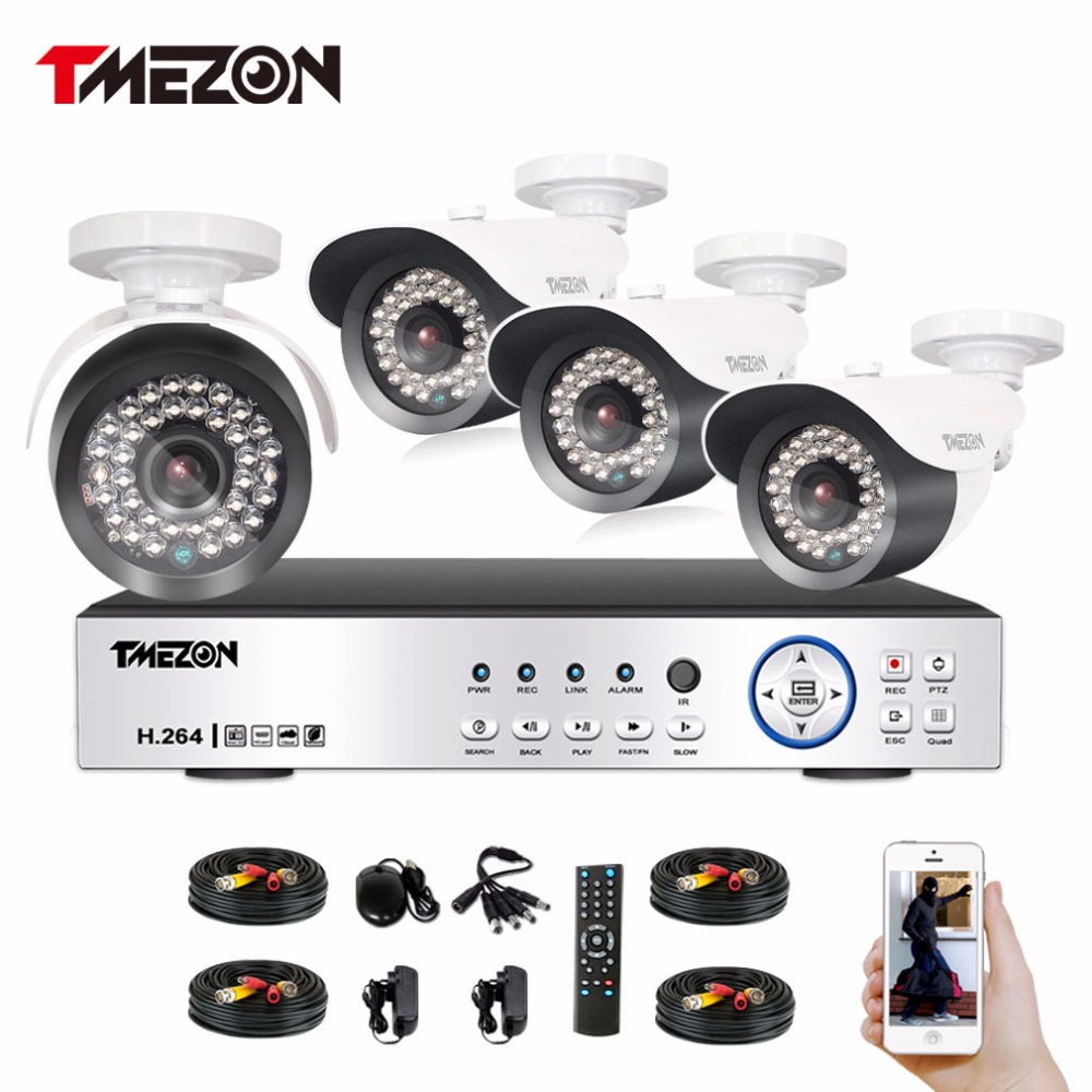 Tmezon HD AHD 4CH 1080P DVR NVR 4pcs 2.0MP Camera Home Security Surveillance CCTV System Outdoor Night Vision Cam 1TB 2TB Set tmezon 16ch dvr 16pcs 1200tvl camera security surveillance cctv system outdoor ir night vision bullet waterproof 1tb 2tb hd kit