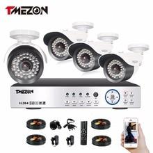 Tmezon HD AHD 4CH 1080P DVR NVR 4pcs 2.0MP Camera Home Security Surveillance CCTV System Outdoor Night Vision Cam 1TB 2TB Set