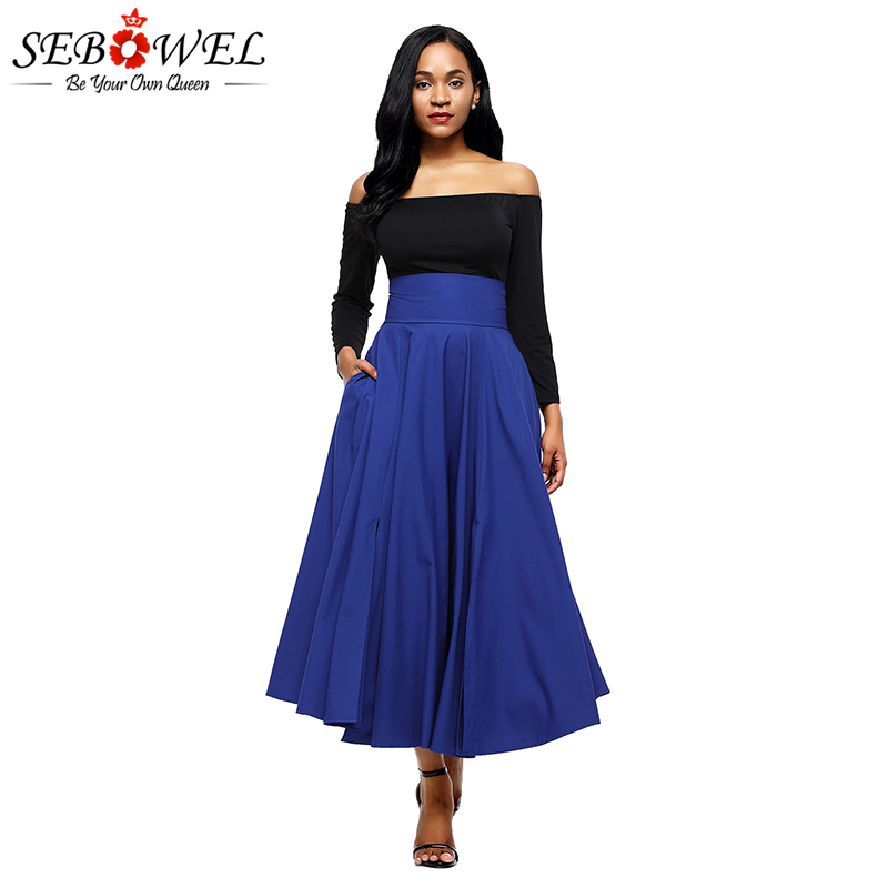SEBOWEL Red Pleated Maxi Skirt Women Retro High Waist Party Long ... c4f751e729ec