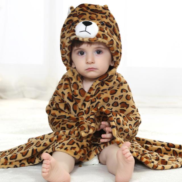 Animal Dos Desenhos Animados Cosplay adereços Foto do bebê Receber Blanket Flanela Bron Leopardo Projeto Recém-nascidos Banho Infantil Robe Dormir
