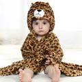 Baby Cartoon Animal Cosplay Photo props Receiving Blanket Flannel Bron Leopard Design Newborn Infant Bath Sleeping Robe