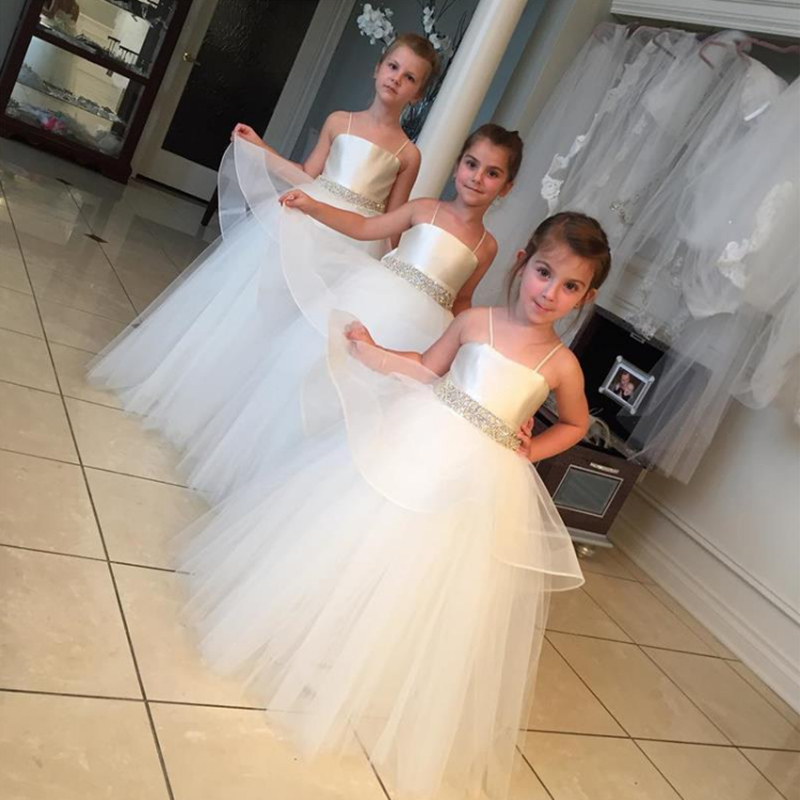 Fashion Flower Girl Dresses For Little Girl Thin shoulder strap Tulle Wedding  Party Prom Girl Pageant First Communion Dresses