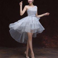 Короткое спереди длинное сзади платье подружки невесты Гламурное