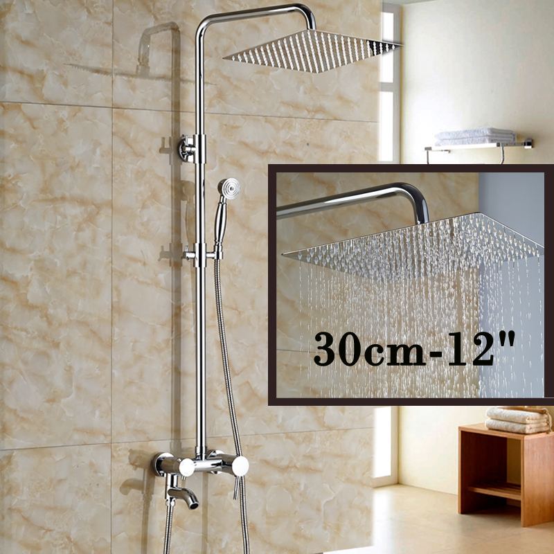 Chrome Brass 12 Square Rainfall Shower Faucet Bathroom Bath Shower Mixer Valve with Tub Spout