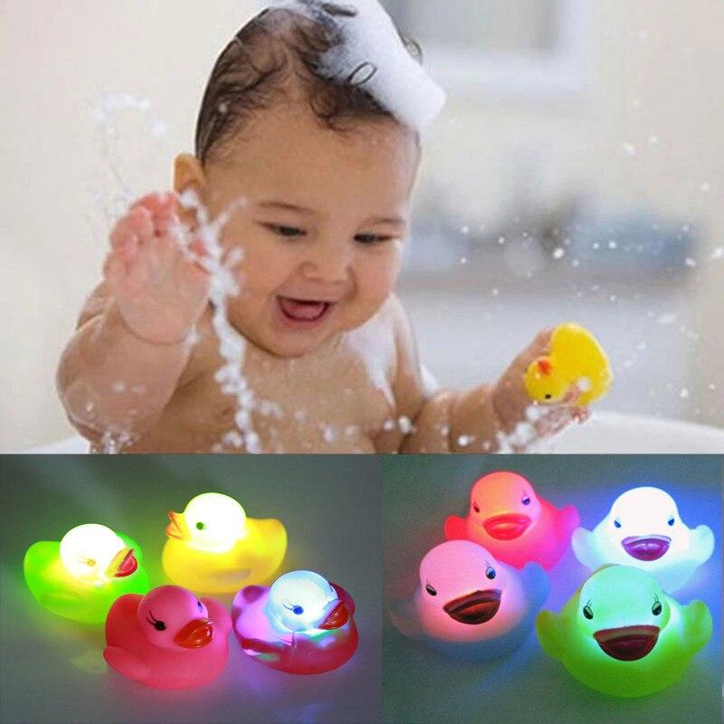 4pcs Lot Rubber Duck Bath Flashing Light Toy Auto Color
