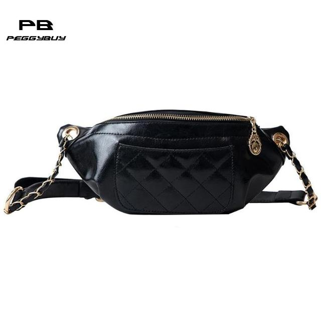 812b3628337e Women PU Leather Chain Crossbody Bags Zipper Female Vintage Messenger Bags  Casual Belt Pouch Pure Color Cross Handbags for Women