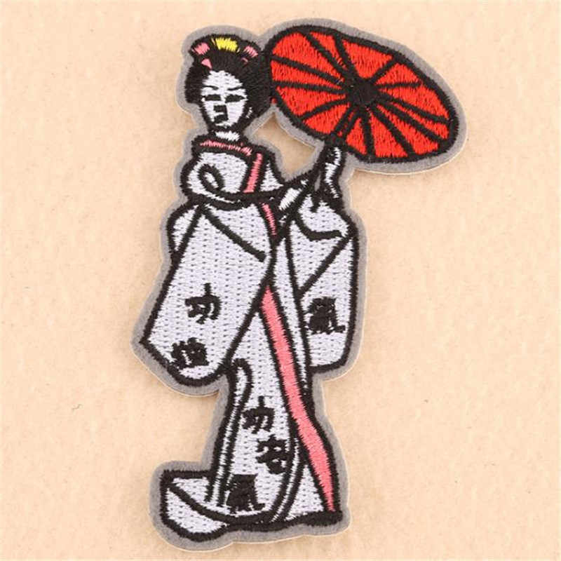 Women/Men/Kids clothes embroidery biker patch Japanese geisha deal with it Iron on patches for clothing stickers free shipping