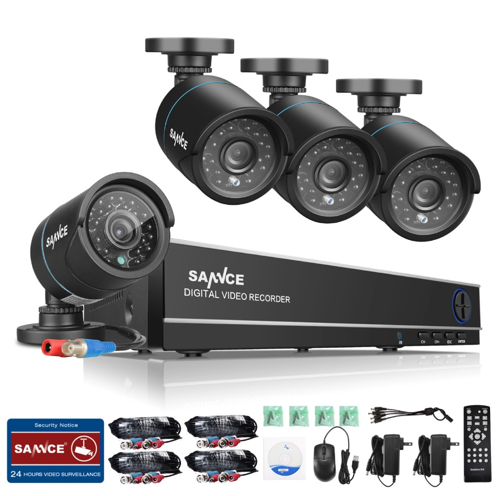 SANNCE 8CH CCTV Security System 4PCS 720P Weatherproof Night Vision IR Cut CCTV Cameras Video Surveillance Kit For RU Stock sannce hd 4ch cctv system hdmi ahd dvr kit 720p outdoor security waterproof night vision surveillance kits with 4 cameras 1tb