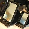 Portátil dobrável PU Couro Makep Preto Espelho de Vestir de Desktop Cosméticos Viagem Senhora Mão Compacto de Bolso Espelho de Maquilhagem