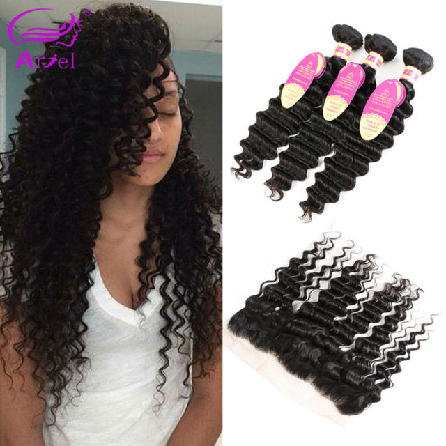 Vip Beauty Hair With Frontal Deep Wave Indian Virgin Wet And Wavy Hair With Closure Indian Curly Virgin Hair With Frontal