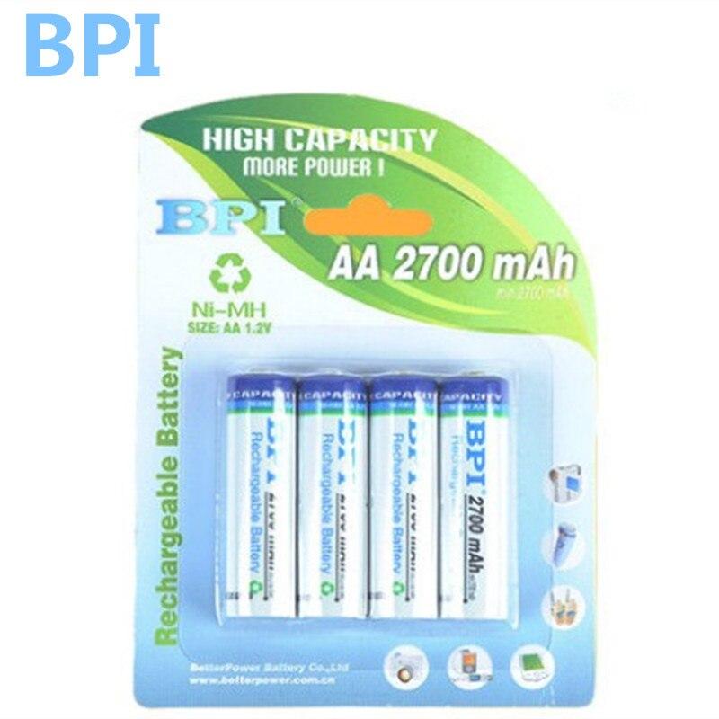 100% véritable BPI origine 2700 mAh NiMH AA rechargeable batteries, de haute qualité jouets, caméras, lampes de poche et batterie