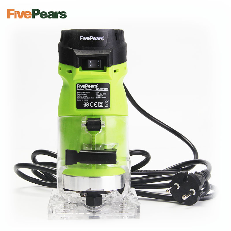 "FivePears 6mm and 1/4"" woodworking trimmer tool  550W power electric router for woodwork with european plugs free shipment"