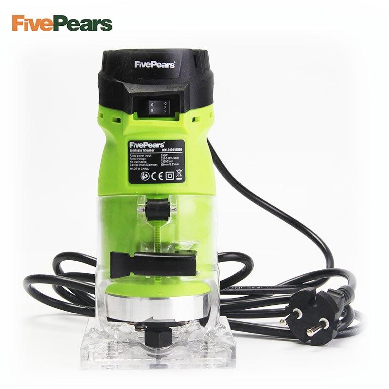FivePears 6mm et 1/4 bois outil de coupe 550 w puissance électrique routeur pour le travail du bois avec les prises européennes gratuit expédition