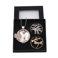 SANSHOOR Stainless Steel Butterfly Pendant Necklace Box Gift Set With Dragonfly And Wave Crystal Disc Coin