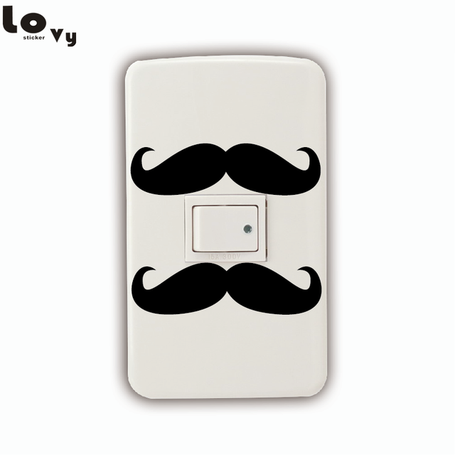 Funny Mustache Vinyl Light Switch Sticker Creative Cartoon Wall Sticker Home  Decor
