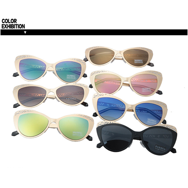 Women Sunglasses Fashion Cat Eye Retro Flash Mirror Lens Eyeglasses Metal Hollow Out Carving Frame Spectacle 6 colors UV400 L3 in Women 39 s Sunglasses from Apparel Accessories