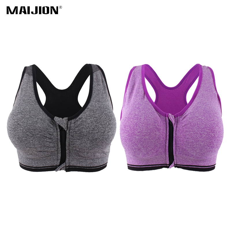 MAIJION 2PCS Women Push Up Fitness Yoga Bras XXXL Size,Shakeproof Stretch Gym Sports Underwear,Plus Size Front Zipper Bra Tops