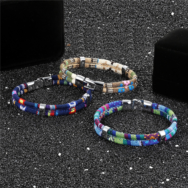 MKENDN New Fashion Bohemian Multilayer Braided Charm Leather Hand Chain Buckle friendship men women bracelet