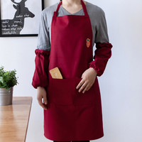 Long Red Brown Gray Canvas Apron Home Cooking Painting Cooking Crafting Gardening Work Wear Florist Baker