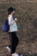 LinenAll linen cotton clothing Linen color jacquard summer O neck short three quarter sleeve pullover tea