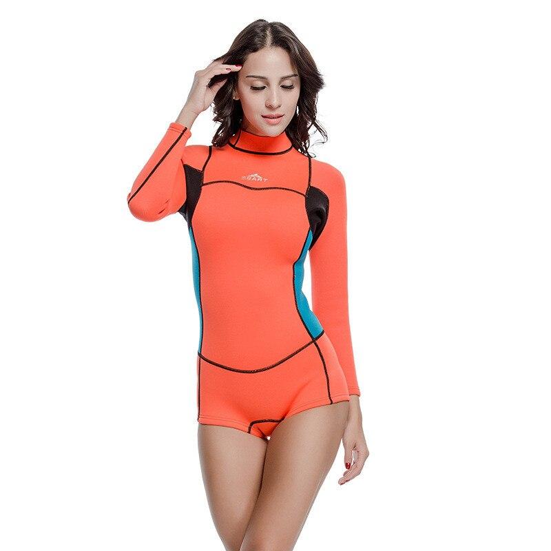 2019 offre spéciale femme à manches longues maillot de bain femmes plongée sous-marine Surf plongée combinaisons humides 2mm néoprène combinaison maillots de bain anti-éruption une pièce