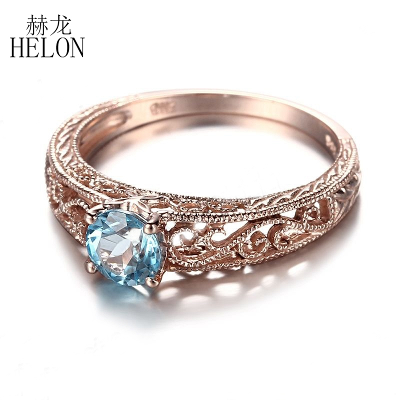 HELON 925 Sterling Silver 5mm Round Cut Blue Topaz Ring Filigree Vintage Art Deco Gemstone Engagement Wedding Ring Fine Jewelry helon sterling silver 925 flawless 11x9mm emerald cut 4 36ct real blue topaz natural diamond engagment wedding ring fine jewelry