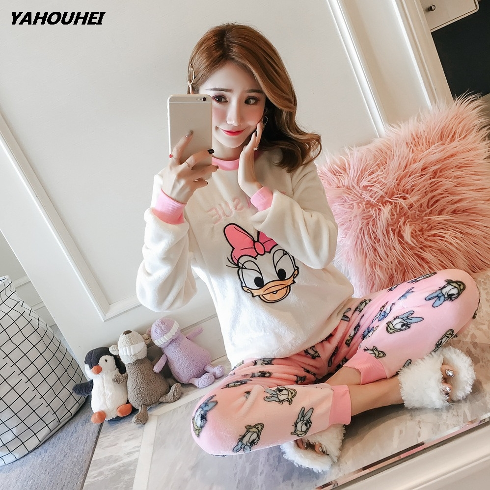 Thick Warm Coral Velvet Pyjamas Suit Nightgown Female Printed Flannel Sleepwear 2019 Autumn Winter Women   Pajama     Sets