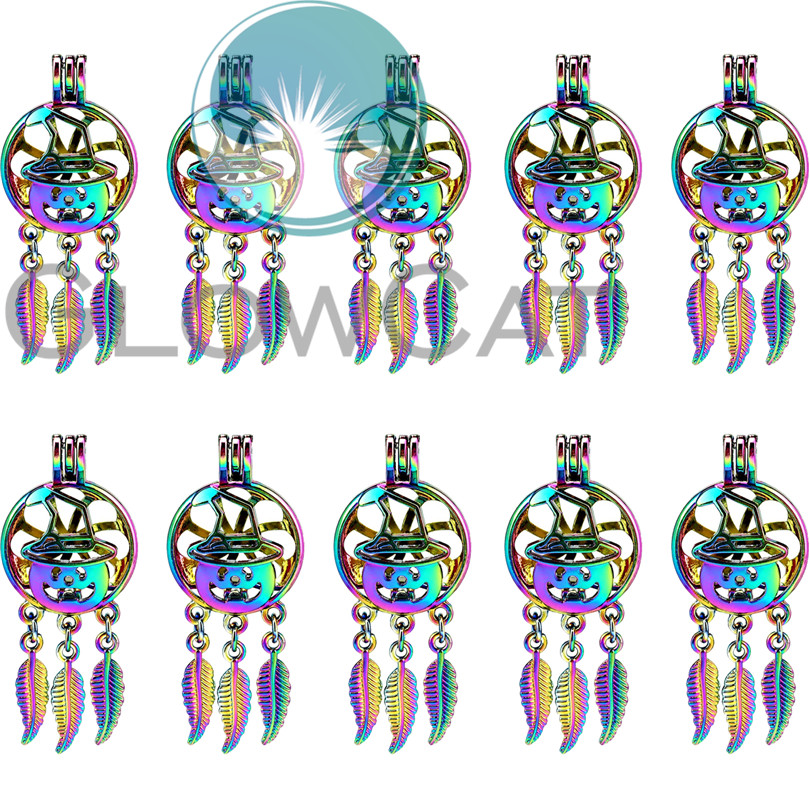 Rainbow Witch Hat Dream Catcher Beads Cage Essential Oil