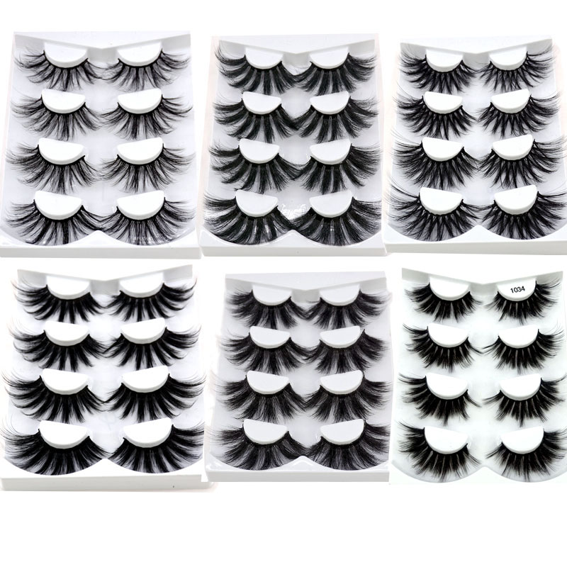 4 Pairs 3D Mink Hair False Eyelashes Criss-cross Wispy Cross Fluffy Length 16-25mm Lashes Extension Handmade Eye Makeup Tools