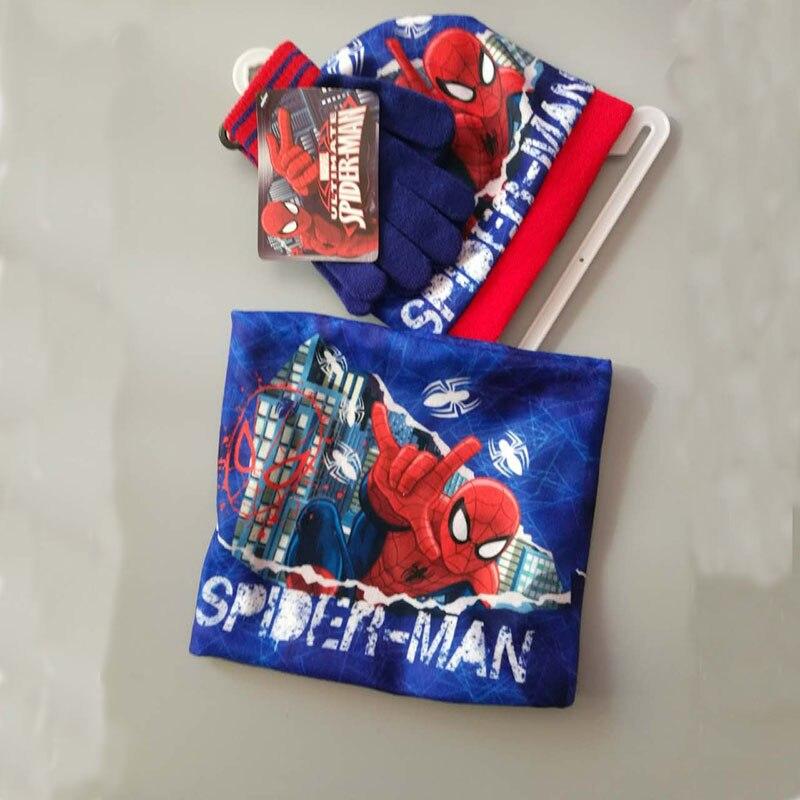 New Handmade The Autumn Winter Spiderman Knitted Crochet Hat + Scarf + Gloves Children Hat Set Children Christmas Presents