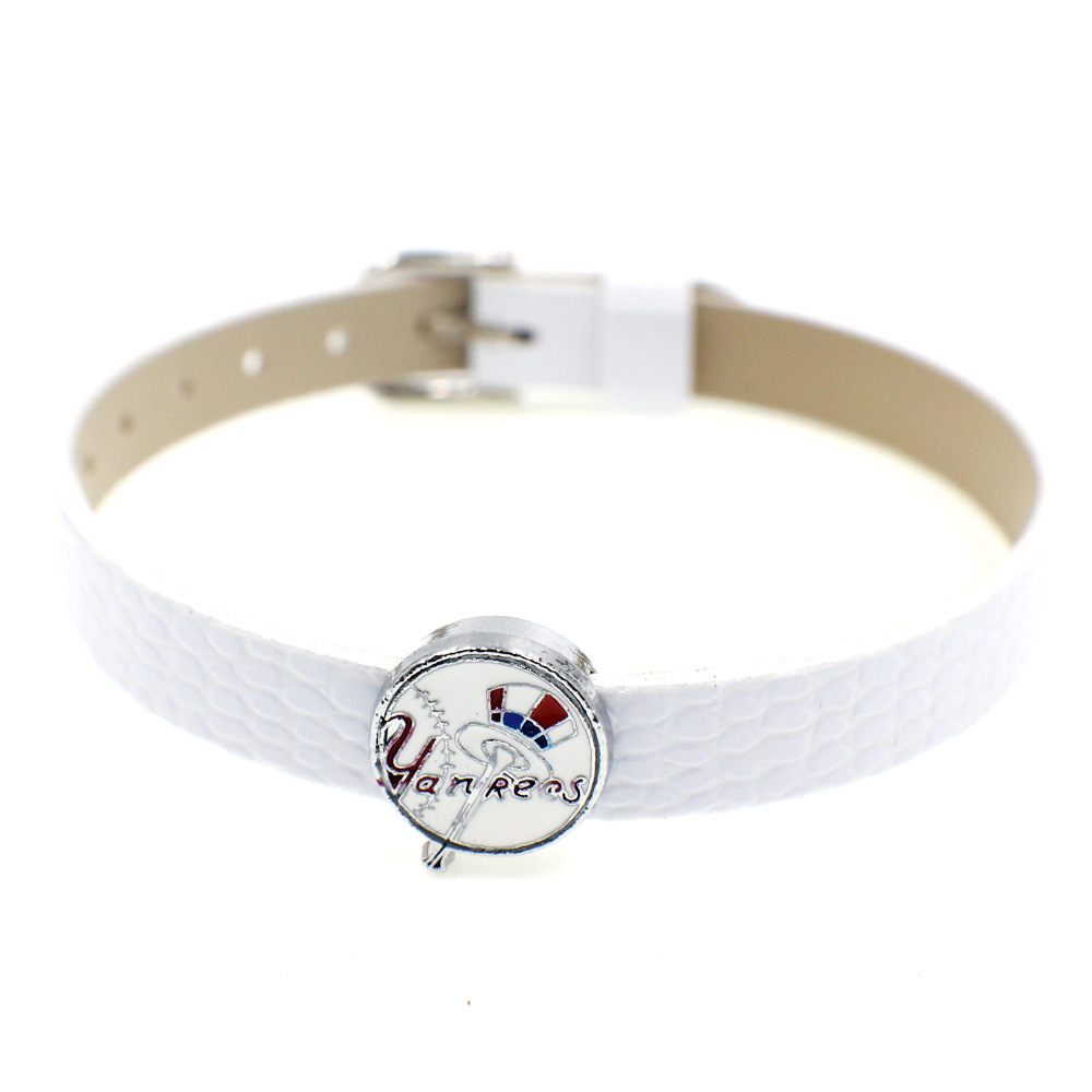 20 Pcs Baseball Slide Charms 8mm Alloy With Enamel NY Yankees Slide Charms Fit Pet Collar DIY Necklace & Bracelet