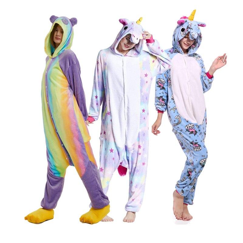 Winter Animal   Pajamas   Unicorn   Pajamas     Sets   Flannel Stitch Pink Unicornio Sleepwear Women Men Adults Onesie Nightie Piece pyjamas