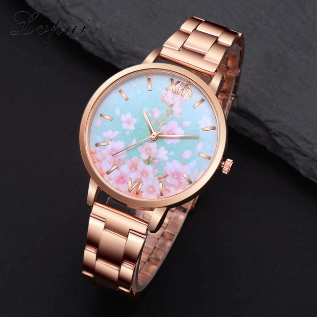 Lvpai Wrist Watches For Women Pink Flowers Bracelet Watch Ladies Steel Wristwatc